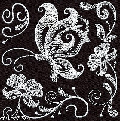 TEN MACHINE EMBROIDERED QUILT BLOCKS: BUTTERFLY SQUARES - WHITEWORK ON BLACK