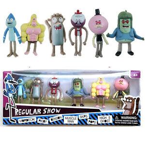 6pcs Regular Show 2inch Mordecal Rigby Benson Muscle Man Skips Pops pvc Toys