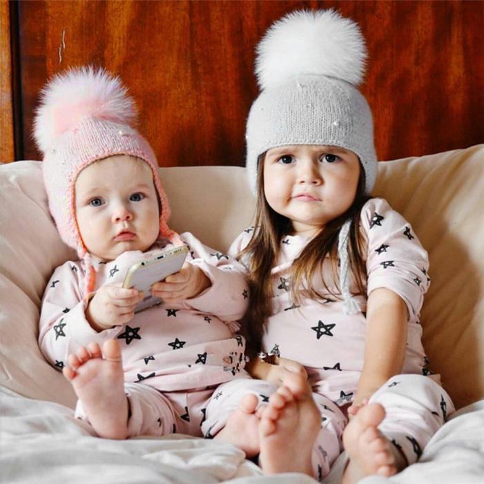 Bambino Ragazze CAPELLI PALLA Auricolari Cappello Uncinetto caldo invernale