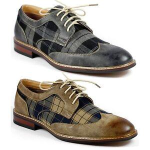 ferro aldo mens lace up plaid dress classic shoes w