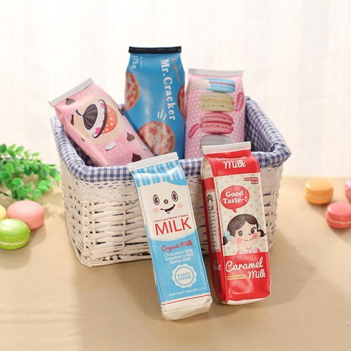 Creative Simulation Milk Cartons PU Pencil Case Kawaii Stationery Pen Bag Gift