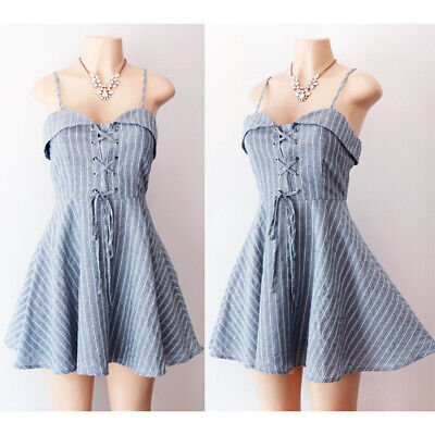 NEW Denim Blue Stripe Laced Up Bustier Sweetheart Collar Fit Flared Skater Dress