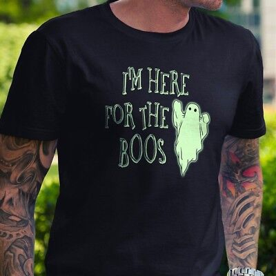 I'm Here for the Boos Halloween T Shirt Pumpkin Booze Party Drink Gift Funny