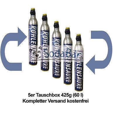 Tauschzylinder 5 x 425g (60l) voll gg. leer Co2 Kohlensäure Füllung Versand...