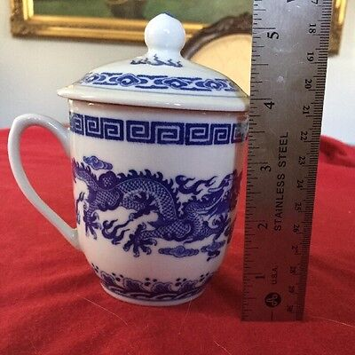 Chinese Porcelain Blue white Dragon Tea Cup/Mug with Lid made in China