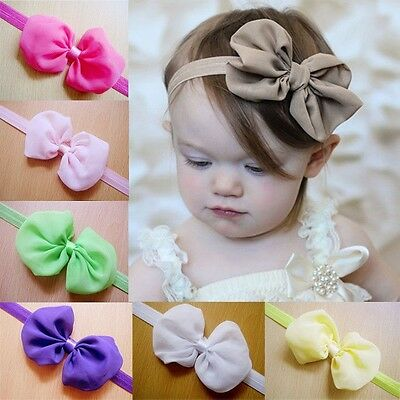12pcs Chiffon Kids Baby Girl Newborn Toddler Hair Band Bow Headbands Accessories](Chiffon Bows)