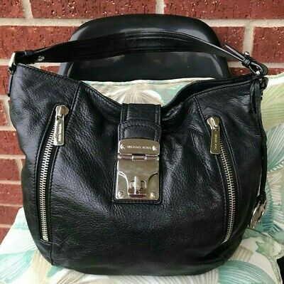 Michael Kors AP-1106 Black Silver Pebbled Leather Shoulder Hobo Handbag Purse