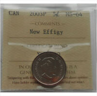 """2003P """"New Effigy"""" 5 Cents Canada ICCS MS-64"""