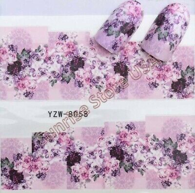 Nail Art Water Transfer Sticker Purple Rose Spring Flower Floral Decals Manicure (Purple Nail Art)