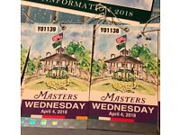 2x Masters 2018 WEDNESDAY golf tickets - Sell or Exchange
