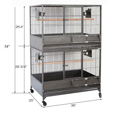 "54"" NEW LARGE Double Stackers Breeding Breeder Bird Parrot Wrought Iron Cage370"