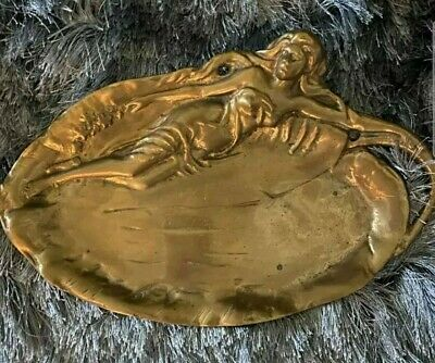French Vintage Bronze Shell Ashtray With Nude WomanYoung WomanFrench Vintage Trinket Dish With Nude