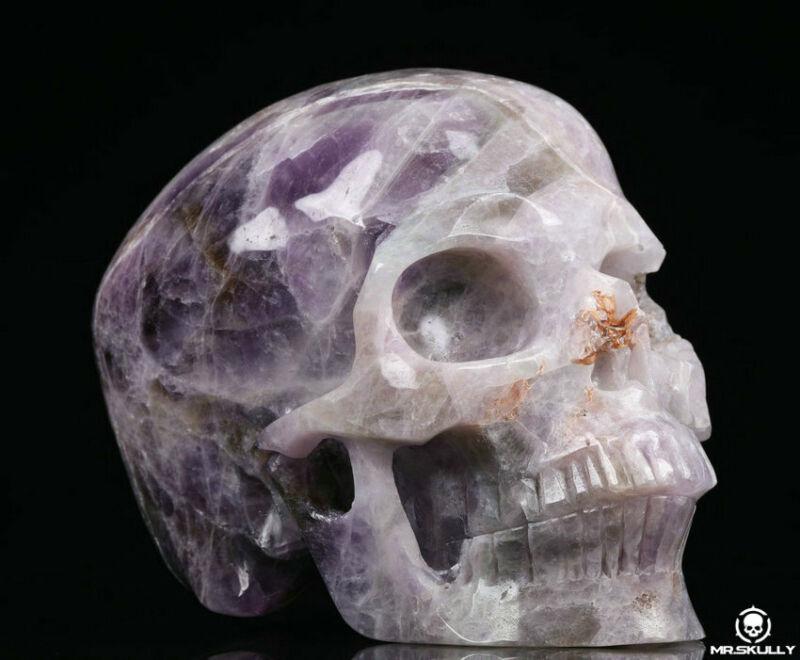 "Huge 5.0"" Dream Chevron Amethyst Carved Crystal Skull,Realistic,Crystal Healing"