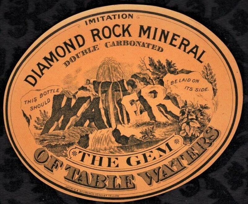 1880s  Diamond Rock Mineral Water Label - Milwaukee
