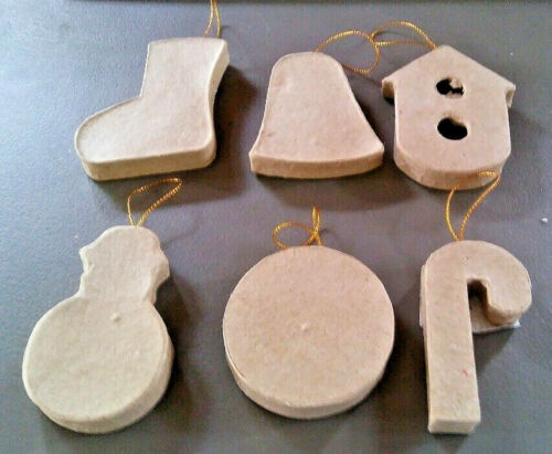 Christmas Unfinished Paper Mache 6 assorted ornaments Approx 3 inch B11