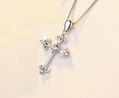 Pave Cubic Zirconia 925 Sterling Silver Faith Cross Pendant Necklace