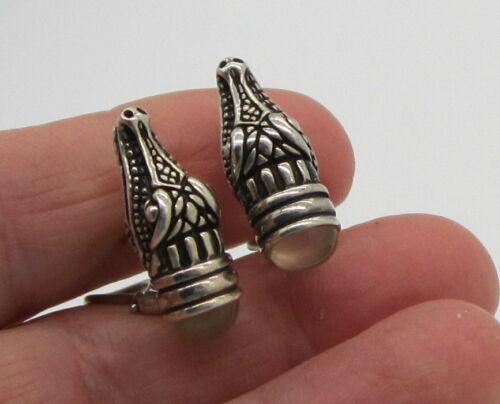 Rare Barry Kieselstein Cord Alligator Sterling Silver Moonstone Pierced Earrings