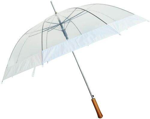 "Barton Outdoors Rain Umbrella - Clear and White - 48"" Across - Rip-Resistant"