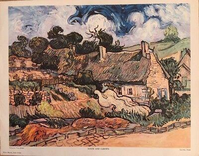 Vincent Van Gogh House and Garden Art Print 11x14 Thatched Cottages Cordeville