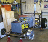 T Bucket, C-cab rolling chassis with drivetrain + most parts to