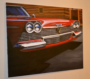 LARGE 1958 PLYMOUTH BELVEDERE CHRISTINE PAINTING - GRANDE TOILE