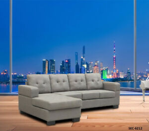 L shape sectional in fabric and leather options