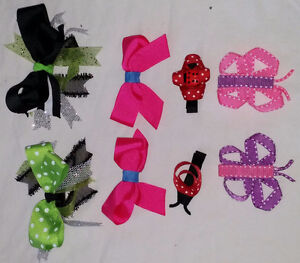 2 Sets of 4 Hair Clips, Bows, Butterfly, Ladybug