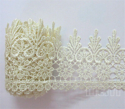 1 yd Vintage Embroidered Lace Edge Trim Ribbon Wedding Applique DIY Sewing Craft - Vintage Ribbon