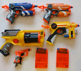 Selection of Nerf guns and bullets