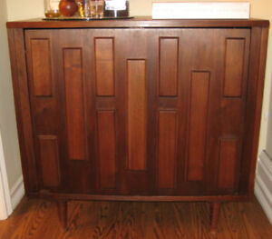 Mid Century Modern - Rare Walnut Swivel Open Bar Cabinet