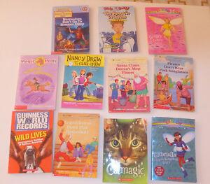 11 Scholastic kids' paperbacks $ 4, 4 Ghosthunters C. Funke $ 5