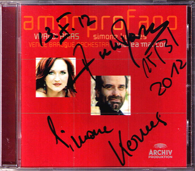 Simone KERMES & Andrea MARCON Signiert AMOR PROFANO Vivaldi CD Venice Baroque