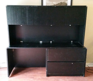 Large Black Desk with Hutch (can deliver)