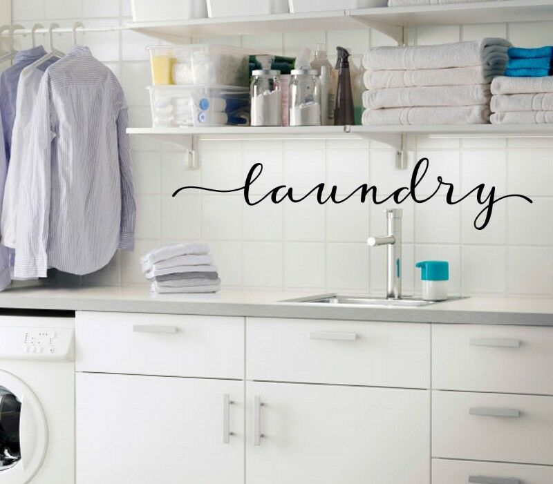 laundry in Script - Vinyl Decal Sticker Kitchen Decor Family