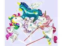 15'' Unicorn handrail balloons with straws party decorations 10pcs-20pcs