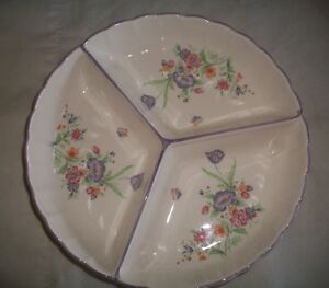 Beautiful Round Flower accent Divided Serving Dish