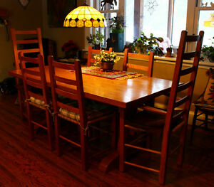 "2"" Solid Oak Harvest Table + 6 Ladder back Chairs"