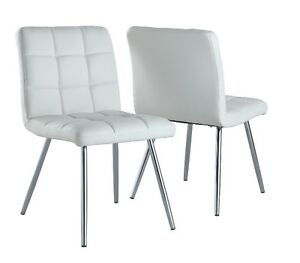 Monarch Specialties Leather-Look White/Chrome Dining Chair - Set