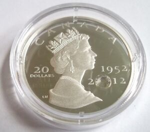 2012 $20 Silver Coin - The Queen's Diamond Jubilee with Crystal