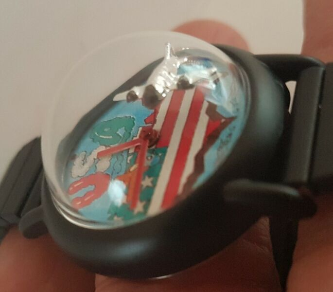 Art Deco Pilot Manual Winding Wrist Watch, Exquisite Dome Cockpit, 3 D Flying Plane as a second hand