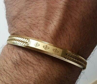Gold Plated Laser Engraved Khandas Sikh Kaur Singh Khalsa Kara Bangle Kada D7