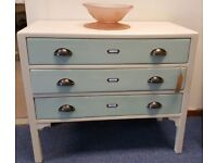 Gorgeous vintage cream and pale green oak chest of 3 drawers with cup handles