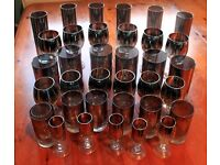 Home Glassware Set of 36 juice/wine/rum/shot ombre-effect silver dark glasses