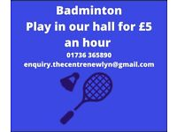 Badminton hall by the hour