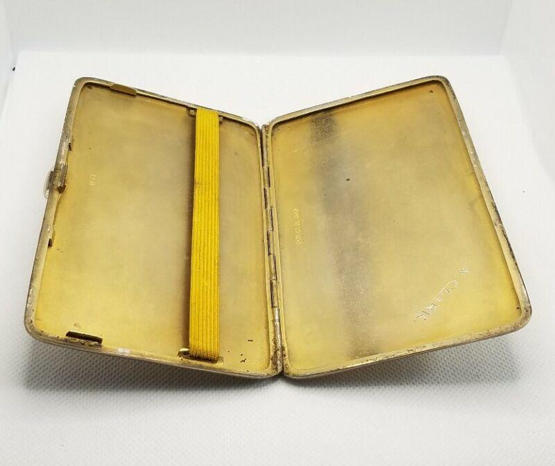 Antique Sterling Silver Cigarette Case Gold Washed Interior Birmingham England