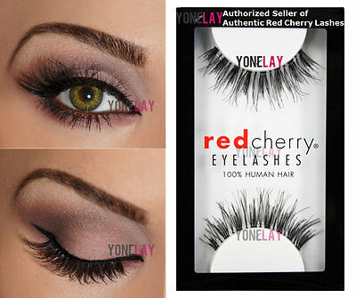 Lot 3 Pairs AUTHENTIC RED CHERRY #WSP Wispies Human Hair Lashes Wispy - Red Fake Eyelashes