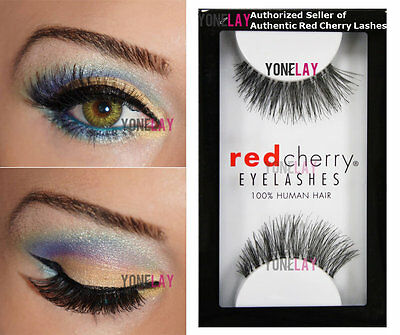 1 Pair GENUINE RED CHERRY #43 Stevi False Eyelashes Human Hair Fake Eye - Red Fake Eyelashes