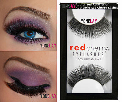 Lot 3 Pairs RED CHERRY #202 Sophie False Eyelashes Human Hair Lash Fake - Red Fake Eyelashes