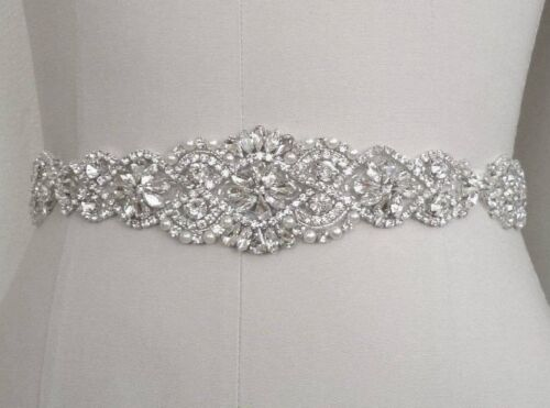 "21"" LONG Wedding Sash Belt =CRYSTAL PEARL Wedding Sash Belt = IVORY SATIN SASH"