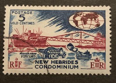 1963 New Hebrides British 5c Red Brown Blue FU Stamp SG98